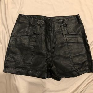 H&M black leather shorts